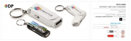 Rotary Usb Car Charger Keyholder