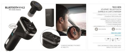 Journey Bluetooth Earbud And Car Charger - Black Only