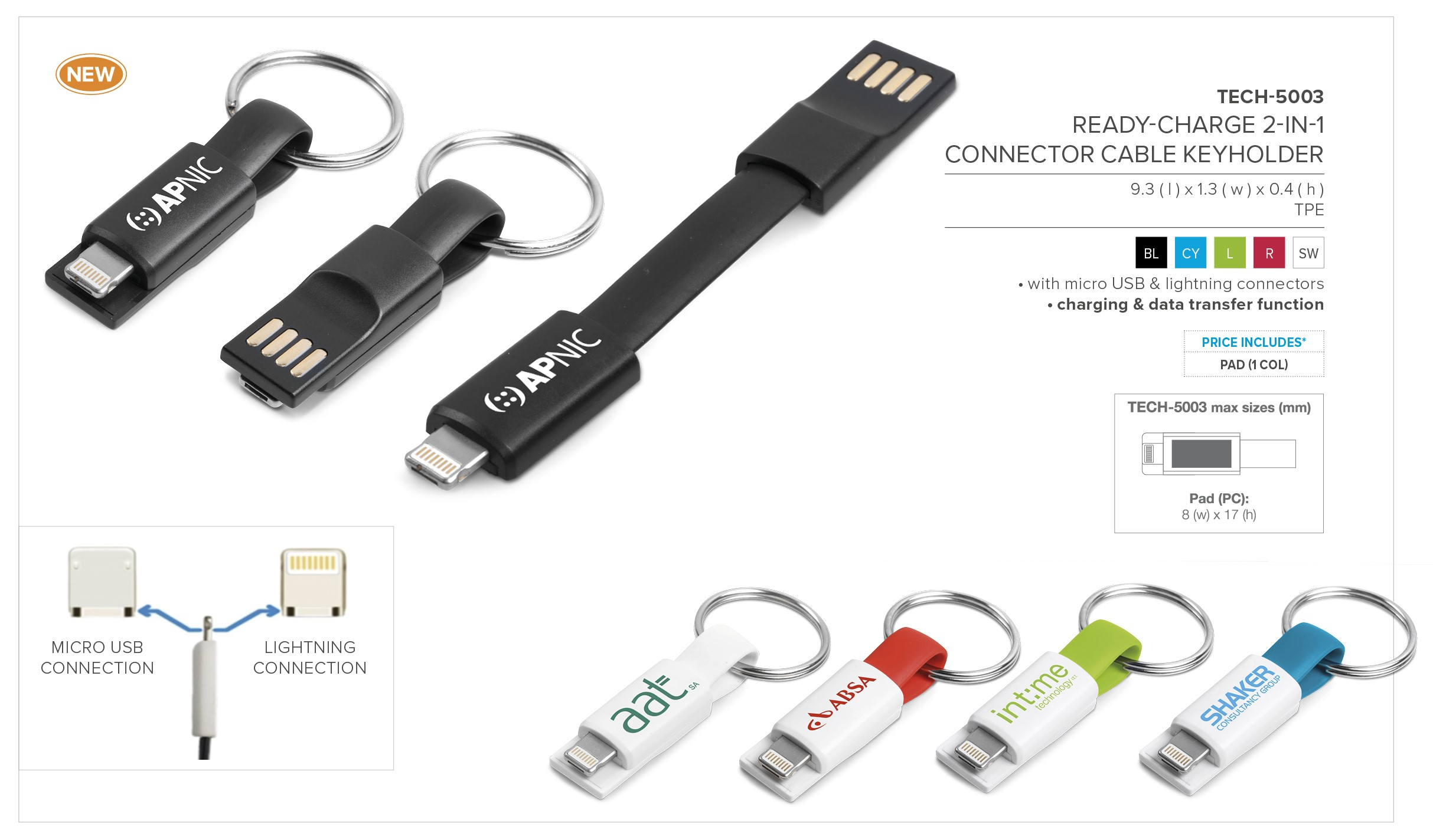 Ready-Charge 2-In-1 Connector Cable Keyholder