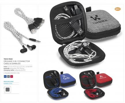 Orleans 3-In-1 Connector Cable & Earbuds